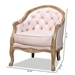 Baxton Studio Genevieve Traditional French Provincial Light Pink Velvet Upholstered White-Washed Oak Wood Armchair - TSF7766-Light Pink-CC