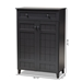 Baxton Studio Glidden Modern and Contemporary Dark Grey Finished 5-Shelf Wood Shoe Storage Cabinet with Drawer - FP-1203-Dark Grey