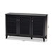 Baxton Studio Coolidge Modern and Contemporary Dark Grey Finished 8-Shelf Wood Shoe Storage Cabinet - FP-04LV-Dark Grey