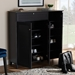 Baxton Studio Coolidge Modern and Contemporary Dark Grey Finished 11-Shelf Wood Shoe Storage Cabinet with Drawer - FP-05LV-Dark Grey