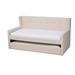 Baxton Studio Giorgia Modern and Contemporary Beige Fabric Upholstered Twin Size Daybed with Trundle - CF9018-Beige-Daybed