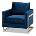 Baxton Studio Matteo Glam and Luxe Navy Blue Velvet Fabric Upholstered Gold Finished Armchair - TSF-77241-Navy/Gold-CC