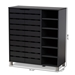 Baxton Studio Shirley Modern and Contemporary Dark Grey Finished 2-Door Wood Shoe Storage Cabinet with Open Shelves - SR-002-Dark Grey