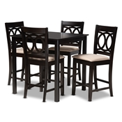 Baxton Studio Lenoir Modern and Contemporary Sand Fabric Upholstered Espresso Brown Finished 5-Piece Wood Pub Set Baxton Studio restaurant furniture, hotel furniture, commercial furniture, wholesale bar furniture, wholesale bar sets, classic bar sets
