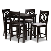 Baxton Studio Lenoir Modern and Contemporary Gray Fabric Upholstered Espresso Brown Finished 5-Piece Wood Pub Set Baxton Studio restaurant furniture, hotel furniture, commercial furniture, wholesale bar furniture, wholesale bar sets, classic bar sets
