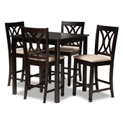 Baxton Studio Reneau Modern and Contemporary Sand Fabric Upholstered Espresso Brown Finished 5-Piece Wood Pub Set Baxton Studio restaurant furniture, hotel furniture, commercial furniture, wholesale bar furniture, wholesale bar sets, classic bar sets