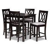Baxton Studio Reneau Modern and Contemporary Gray Fabric Upholstered Espresso Brown Finished 5-Piece Wood Pub Set Baxton Studio restaurant furniture, hotel furniture, commercial furniture, wholesale bar furniture, wholesale bar sets, classic bar sets