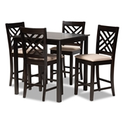 Baxton Studio Caron Modern and Contemporary Sand Fabric Upholstered Espresso Brown Finished 5-Piece Wood Pub Set Baxton Studio restaurant furniture, hotel furniture, commercial furniture, wholesale bar furniture, wholesale bar sets, classic bar sets
