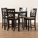 Baxton Studio Caron Modern and Contemporary Sand Fabric Upholstered Espresso Brown Finished 5-Piece Wood Pub Set - RH317P-Sand/Dark Brown-5PC Pub Set