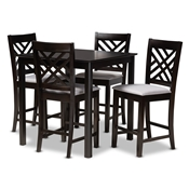 Baxton Studio Caron Modern and Contemporary Gray Fabric Upholstered Espresso Brown Finished 5-Piece Wood Pub Set Baxton Studio restaurant furniture, hotel furniture, commercial furniture, wholesale bar furniture, wholesale bar sets, classic bar sets