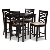 Baxton Studio Lanier Modern and Contemporary Sand Fabric Upholstered Espresso Brown Finished 5-Piece Wood Pub Set Baxton Studio restaurant furniture, hotel furniture, commercial furniture, wholesale bar furniture, wholesale bar sets, classic bar sets