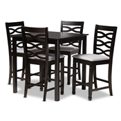 Baxton Studio Lanier Modern and Contemporary Gray Fabric Upholstered Espresso Brown Finished 5-Piece Wood Pub Set Baxton Studio restaurant furniture, hotel furniture, commercial furniture, wholesale bar furniture, wholesale bar sets, classic bar sets