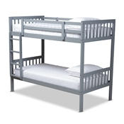Baxton Studio Jude Modern and Contemporary Grey Finished Wood Twin Size Bunk Bed Baxton Studio restaurant furniture, hotel furniture, commercial furniture, wholesale kids  furniture, wholesale bunk beds classic bunk beds