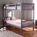 Baxton Studio Jude Modern and Contemporary Grey Finished Wood Twin Size Bunk Bed - MG0045-Grey-Twin Bunk Bed