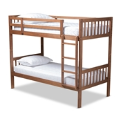 Baxton Studio Jude Modern and Contemporary Walnut Brown Finished Wood Twin Size Bunk Bed Baxton Studio restaurant furniture, hotel furniture, commercial furniture, wholesale kids  furniture, wholesale bunk beds classic bunk beds