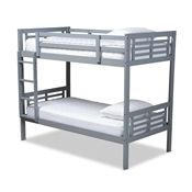 Baxton Studio Liam Modern and Contemporary Grey Finished Wood Twin Size Bunk Bed Baxton Studio restaurant furniture, hotel furniture, commercial furniture, wholesale kids  furniture, wholesale bunk beds classic bunk beds