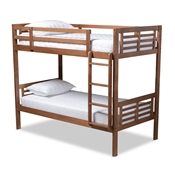 Baxton Studio Liam Modern and Contemporary Walnut Brown Finished Wood Twin Size Bunk Bed Baxton Studio restaurant furniture, hotel furniture, commercial furniture, wholesale kids  furniture, wholesale bunk beds classic bunk beds