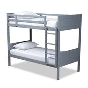 Baxton Studio Elsie Modern and Contemporary Grey Finished Wood Twin Size Bunk Bed Baxton Studio restaurant furniture, hotel furniture, commercial furniture, wholesale kids  furniture, wholesale bunk beds classic bunk beds