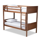 Baxton Studio Elsie Modern and Contemporary Walnut Brown Finished Wood Twin Size Bunk Bed Baxton Studio restaurant furniture, hotel furniture, commercial furniture, wholesale kids  furniture, wholesale bunk beds classic bunk beds
