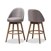 Baxton Studio Carra Mid-Century Modern Grey Fabric Upholstered Walnut-Finished Wood Swivel Bar Stool (Set of 2) Baxton Studio restaurant furniture, hotel furniture, commercial furniture, wholesale bar furniture, wholesale bar stools, classic bar stools