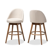 Baxton Studio Carra Mid-Century Modern Light Beige Fabric Upholstered Walnut-Finished Wood Swivel Bar Stool (Set of 2) Baxton Studio restaurant furniture, hotel furniture, commercial furniture, wholesale bar furniture, wholesale bar stools, classic bar stools