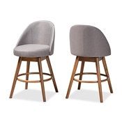 Baxton Studio Carra Mid-Century Modern Grey Fabric Upholstered Walnut-Finished Wood Swivel Counter Stool (Set of 2) Baxton Studio restaurant furniture, hotel furniture, commercial furniture, wholesale bar furniture, wholesale counter stools, classic counter stools