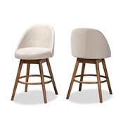 Baxton Studio Carra Mid-Century Modern Light Beige Fabric Upholstered Walnut-Finished Wood Swivel Counter Stool (Set of 2) Baxton Studio restaurant furniture, hotel furniture, commercial furniture, wholesale bar furniture, wholesale counter stools, classic counter stools