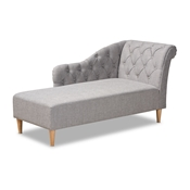 Baxton Studio Emeline Modern and Contemporary Grey Fabric Upholstered Oak Finished Chaise Lounge Baxton Studio restaurant furniture, hotel furniture, commercial furniture, wholesale living room  furniture, wholesale chaise, classic chaise