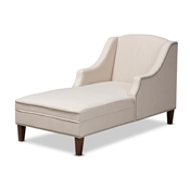Baxton Studio Leonie Modern and Contemporary Beige Fabric Upholstered Wenge Brown Finished Chaise Lounge Baxton Studio restaurant furniture, hotel furniture, commercial furniture, wholesale living room  furniture, wholesale chaise, classic chaise