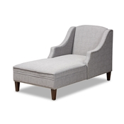 Baxton Studio Leonie Modern and Contemporary Grey Fabric Upholstered Wenge Brown Finished Chaise Lounge Baxton Studio restaurant furniture, hotel furniture, commercial furniture, wholesale living room  furniture, wholesale chaise, classic chaise