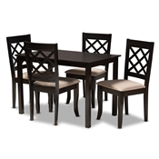 Baxton Studio Verner Modern and Contemporary Sand Fabric Upholstered Espresso Brown Finished 5-Piece Wood Dining Set Baxton Studio restaurant furniture, hotel furniture, commercial furniture, wholesale dining room furniture, wholesale dining sets, classic dining sets