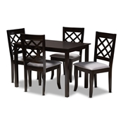 Baxton Studio Verner Modern and Contemporary Grey Fabric Upholstered Espresso Brown Finished 5-Piece Wood Dining Set Baxton Studio restaurant furniture, hotel furniture, commercial furniture, wholesale dining room furniture, wholesale dining sets, classic dining sets