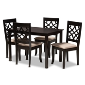 Baxton Studio Mael Modern and Contemporary Sand Fabric Upholstered Espresso Brown Finished 5-Piece Wood Dining Set Baxton Studio restaurant furniture, hotel furniture, commercial furniture, wholesale dining room furniture, wholesale dining sets, classic dining sets