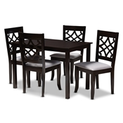 Baxton Studio Mael Modern and Contemporary Grey Fabric Upholstered Espresso Brown Finished 5-Piece Wood Dining Set Baxton Studio restaurant furniture, hotel furniture, commercial furniture, wholesale dining room furniture, wholesale dining sets, classic dining sets