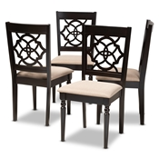 Baxton Studio Renaud Modern and Contemporary Sand Fabric Upholstered Espresso Brown Finished Wood Dining Chair (Set of 4) Baxton Studio restaurant furniture, hotel furniture, commercial furniture, wholesale dining room furniture, wholesale dining chairs, classic dining chairs