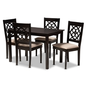 Baxton Studio Renaud Modern and Contemporary Sand Fabric Upholstered Espresso Brown Finished 5-Piece Wood Dining Set Baxton Studio restaurant furniture, hotel furniture, commercial furniture, wholesale dining room furniture, wholesale dining sets, classic dining sets