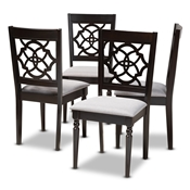 Baxton Studio Renaud Modern and Contemporary Grey Fabric Upholstered Espresso Brown Finished Wood Dining Chair (Set of 4) Baxton Studio restaurant furniture, hotel furniture, commercial furniture, wholesale dining room furniture, wholesale dining chairs, classic dining chairs