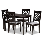 Baxton Studio Renaud Modern and Contemporary Grey Fabric Upholstered Espresso Brown Finished 5-Piece Wood Dining Set Baxton Studio restaurant furniture, hotel furniture, commercial furniture, wholesale dining room furniture, wholesale dining sets, classic dining sets