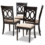 Baxton Studio Lucie Modern and Contemporary Sand Fabric Upholstered Espresso Brown Finished Wood Dining Chair (Set of 4) Baxton Studio restaurant furniture, hotel furniture, commercial furniture, wholesale dining room furniture, wholesale dining chairs, classic dining chairs