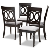 Baxton Studio Lucie Modern and Contemporary Grey Fabric Upholstered Espresso Brown Finished Wood Dining Chair (Set of 4) Baxton Studio restaurant furniture, hotel furniture, commercial furniture, wholesale dining room furniture, wholesale dining chairs, classic dining chairs