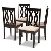 Baxton Studio Cherese Modern and Contemporary Sand Fabric Upholstered Espresso Brown Finished Wood Dining Chair (Set of 4) Baxton Studio restaurant furniture, hotel furniture, commercial furniture, wholesale dining room furniture, wholesale dining chairs, classic dining chairs