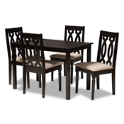 Baxton Studio Cherese Modern and Contemporary Sand Fabric Upholstered Espresso Brown Finished 5-Piece Wood Dining Set Baxton Studio restaurant furniture, hotel furniture, commercial furniture, wholesale dining room furniture, wholesale dining sets, classic dining sets