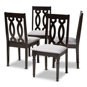 Baxton Studio Cherese Modern and Contemporary Grey Fabric Upholstered Espresso Brown Finished Wood Dining Chair (Set of 4) Baxton Studio restaurant furniture, hotel furniture, commercial furniture, wholesale dining room furniture, wholesale dining chairs, classic dining chairs