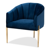 Baxton Studio Clarisse Glam and Luxe Navy Blue Velvet Fabric Upholstered Gold Finished Accent Chair Baxton Studio restaurant furniture, hotel furniture, commercial furniture, wholesale living room  furniture, wholesale chair, classic chair