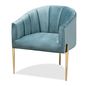 Baxton Studio Clarisse Glam and Luxe Light Blue Velvet Fabric Upholstered Gold Finished Accent Chair Baxton Studio restaurant furniture, hotel furniture, commercial furniture, wholesale living room  furniture, wholesale chair, classic chair