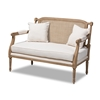 Baxton Studio Clemence French Provincial Ivory Fabric Upholstered Whitewashed Wood Loveseat Baxton Studio restaurant furniture, hotel furniture, commercial furniture, wholesale living room furniture, wholesale loveseat, classic loveseat