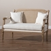 Baxton Studio Clemence French Provincial Ivory Fabric Upholstered Whitewashed Wood Loveseat - ASS1038-LS