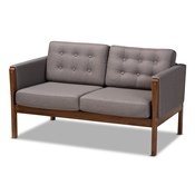 Baxton Studio Lenne Mid-Century Modern Grey Fabric Upholstered Walnut Finished Loveseat Baxton Studio restaurant furniture, hotel furniture, commercial furniture, wholesale living room furniture, wholesale loveseat, classic loveseat