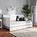 Baxton Studio Cintia Cottage Farmhouse White Finished Wood Twin Size Daybed with Trundle - Cintia-White-Daybed-T