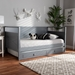 Baxton Studio Cintia Cottage Farmhouse Grey Finished Wood Twin Size Daybed with Trundle - Cintia-Grey-Daybed-T